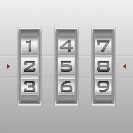 secret number: Metallic combination lock with three number