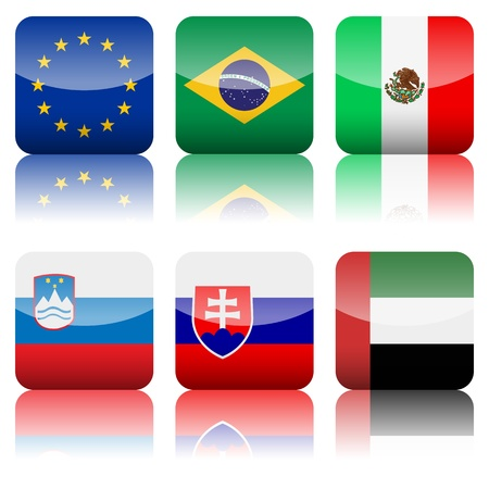 Square national flag set on a white background  Stock Vector - 15158588