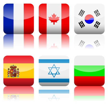 Square national flag set on a white background  Vector