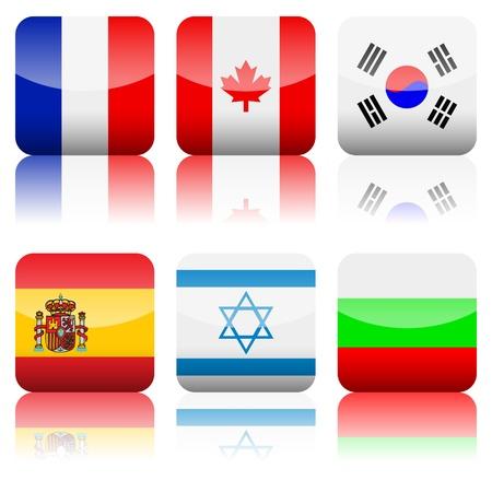 Square national flag set on a white background Vector Illustration