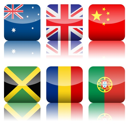 jamaica: Square national flag set on a white background   Illustration