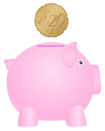 Piggy bank and coin on white background