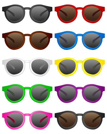 Retro sunglasses on a white background   Vector