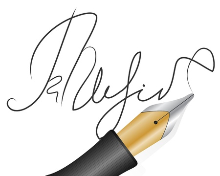 autograph: Fountain pen and signature on a white background  Illustration