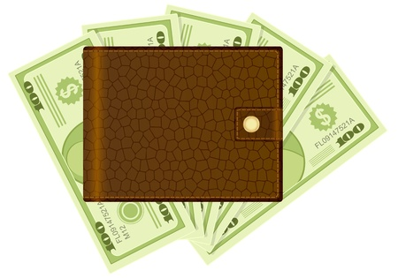 billfold: Wallet on a dollar banknotes