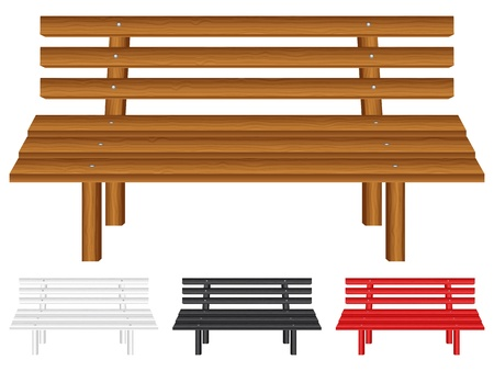 outdoor furniture: Wooden bench set on white background