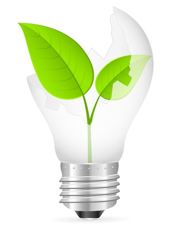 Broken light bulb with leaf on a white background. Vector illustration.