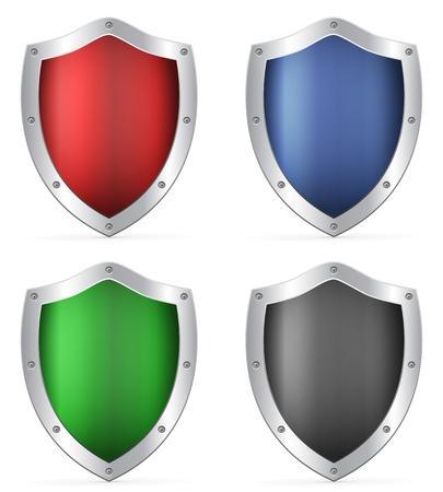 blue shield: Shields set on a white background. Vector illustration.