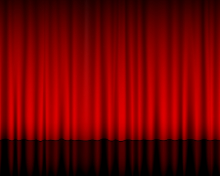 Vue rapprochée d'un rideau rouge. Vector illustration.