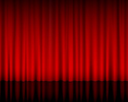 Nahaufnahme von einem roten Vorhang. Vektor-Illustration.