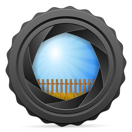 Camera shutter with autumn landscape on white background Vector
