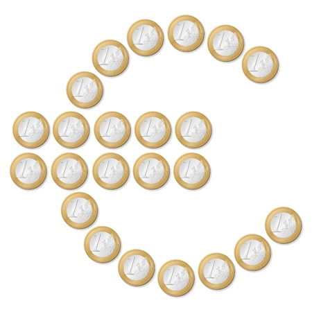 euro coins: Euro symbol formed by one euro coins isolated on a white background