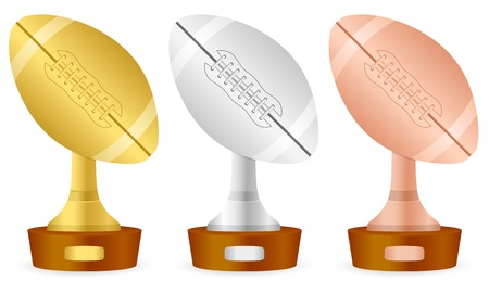 Football trophy set on white background Vector
