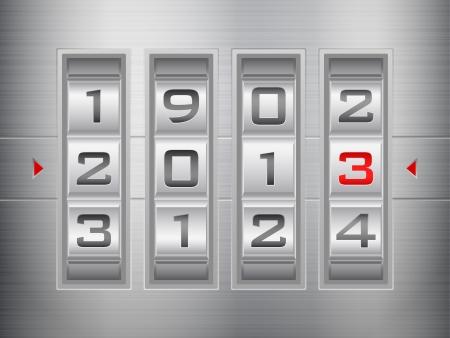 Metallic combination lock 2013 New Year Stock Vector - 15481024