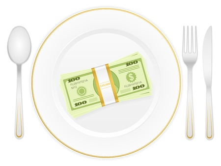 Plate with dollar stack and cutlery Stock Vector - 15481020