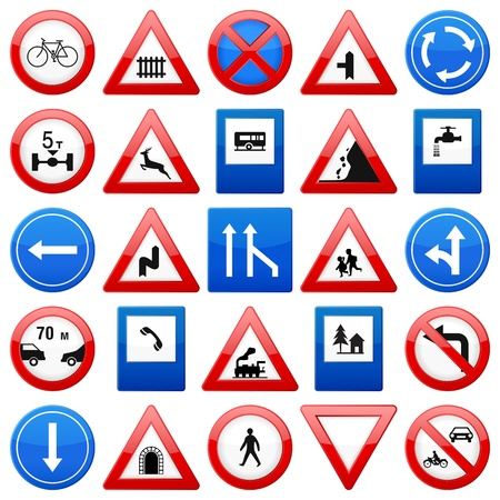 rules of road: Road signs set on a white background