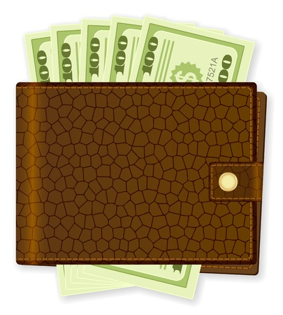 billfold: Wallet with dollar banknotes on white background