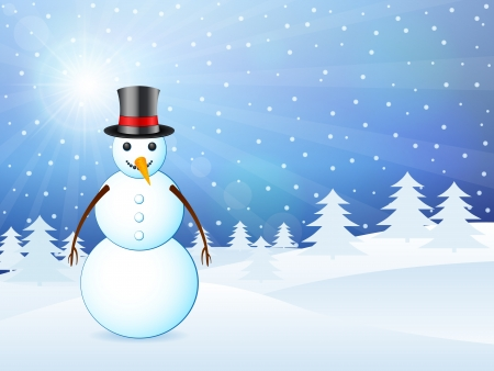 Winter background landscape with snowman Stock Vector - 15481027
