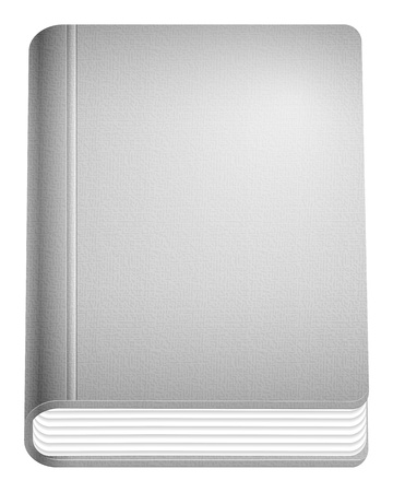hardcover: Hardcover grey book on white background  illustration