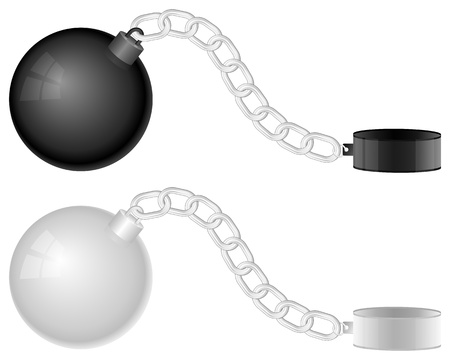 prison ball: Two shackles on a white background
