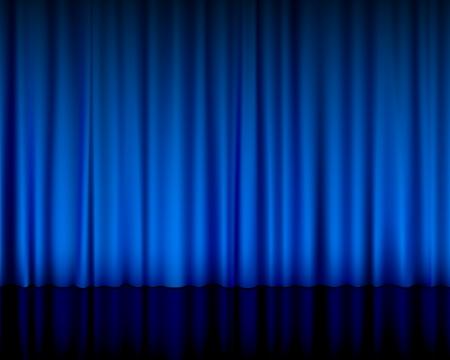rideau sc�ne: Vue rapproch�e d'une illustration rideau bleu