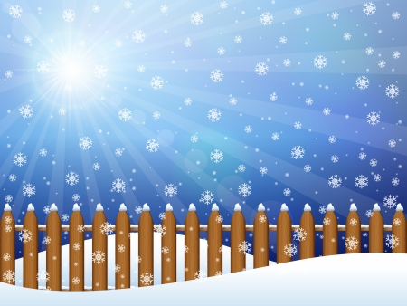Winter background landscape with snowflakes illustration  Vector