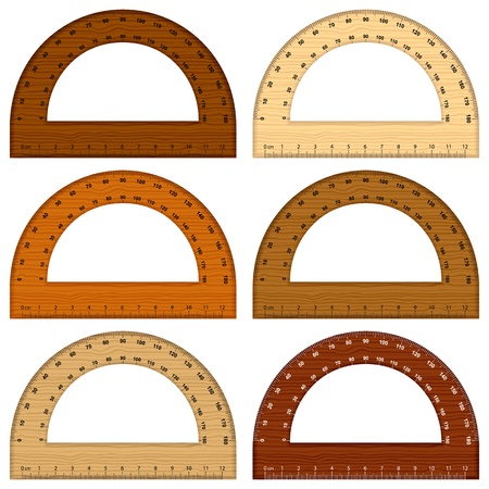 Wooden protractor on white background   illustration  Vector