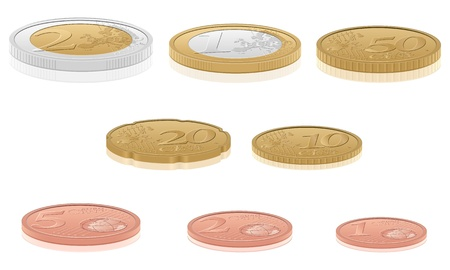 euro coins: Euro coins set isolated on a white background. Vector illustration. Illustration
