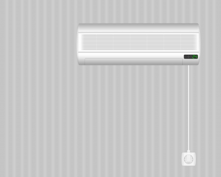 electric outlet: Air conditioner on grey wall. Vector illustration.