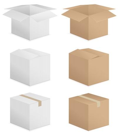 pasteboard: Cardboard box set on white background. Vector illustration. Illustration