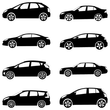 car outline: Silhouette cars on a white background. Vector illustration.