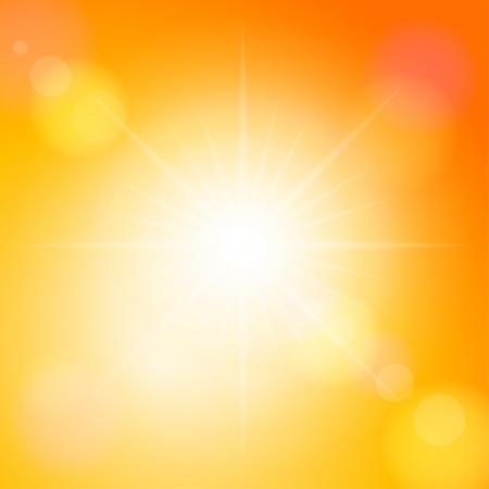 Rayo de sol en un cielo anaranjado. Vector ilustración. Foto de archivo - 15783157