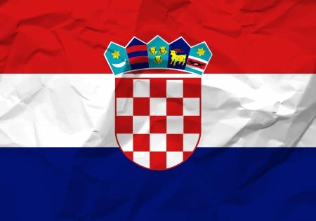 bandiera croazia: Sgualcita bandiera Croazia sfondo di carta con texture.