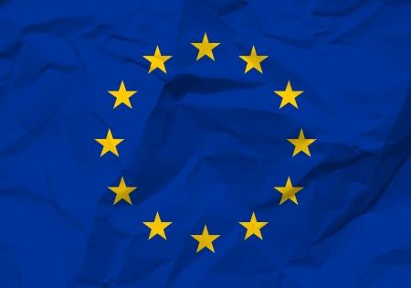 rumple: Crumpled paper European union flag textured background.