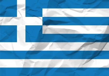 rumple: Crumpled paper Greece flag textured background.
