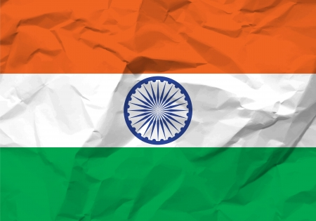 scrunch: Crumpled paper India flag textured background. Illustration