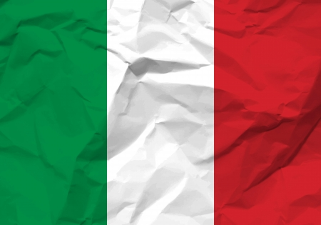 nationalism: Crumpled paper Italy flag textured background.