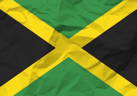 rumple: Crumpled paper Jamaica flag textured background.