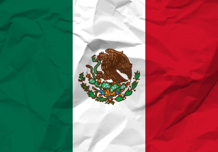 Crumpled paper Mexico flag textured background.  Vector