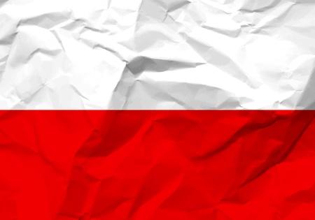 scrunch: Crumpled paper Poland flag textured background Illustration