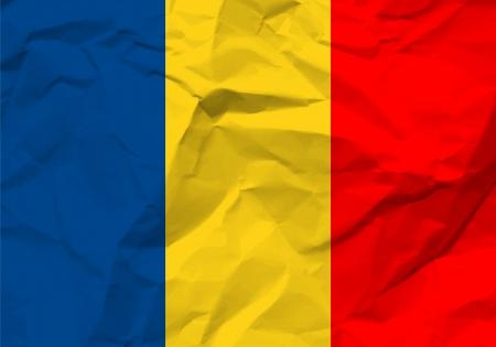 scrunch: Crumpled paper Romania flag textured background.