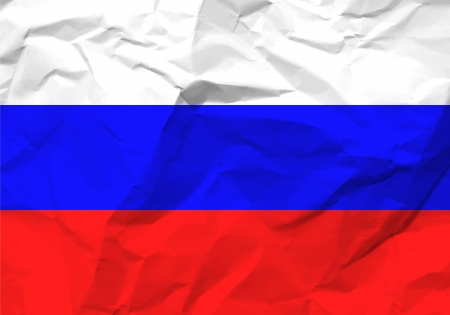 rumple: Crumpled paper Russia flag textured background.