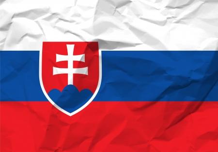 scrunch: Crumpled paper Slovakia flag textured background.