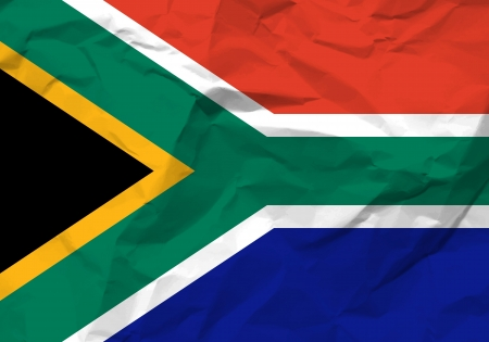 rumple: Crumpled paper South Africa flag textured background.