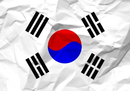rumple: Crumpled paper South Korea flag textured background. Illustration