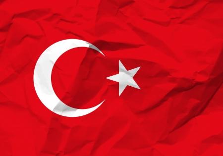 scrunch: Crumpled paper Turkey flag textured background.