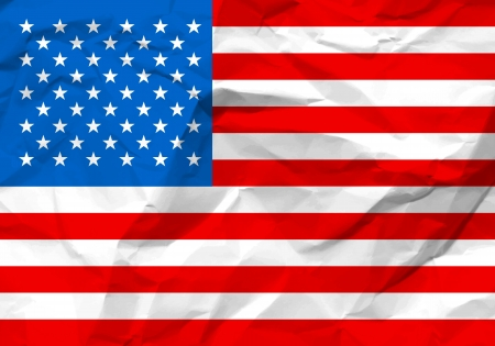 rumple: Crumpled paper USA flag textured background.  Illustration