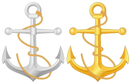 Two anchors on a white background. Vector illustration.