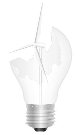 Broken light bulb with wind generator. Vector illustration. Stock Vector - 16038295
