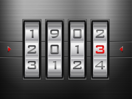 Metallic combination lock 2013 New Year. Vector illustration. Vector